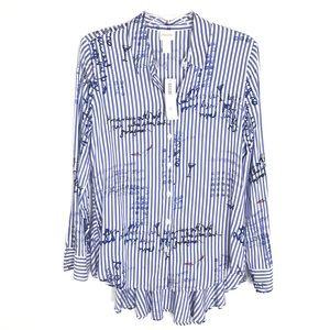 Chicos blue white stripe script tunic top hi low 0